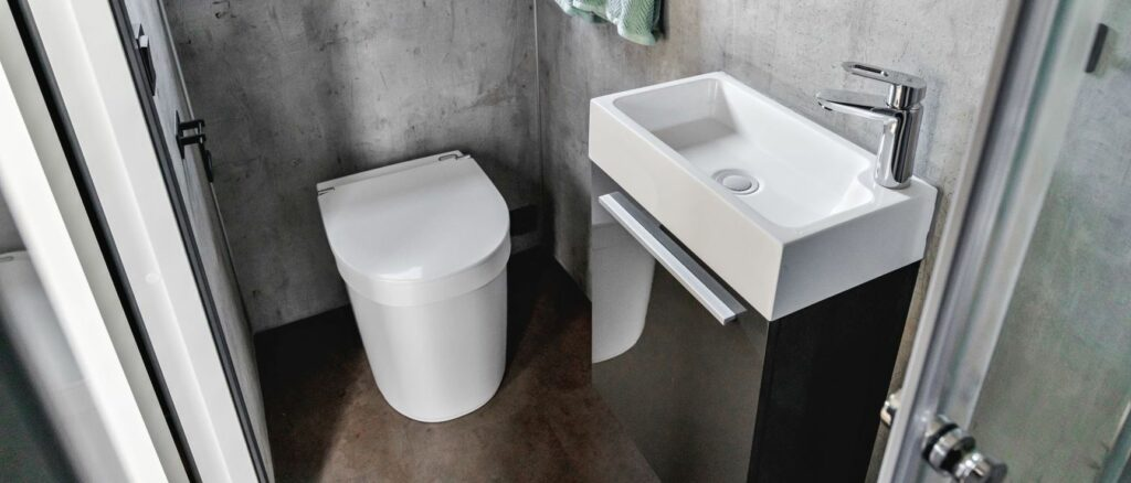 Separett Tiny compost toilet in bathroom setting
