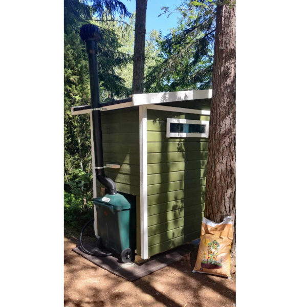 WooWoo GT 330 compost toilet installed in a wooden building. View from rear.