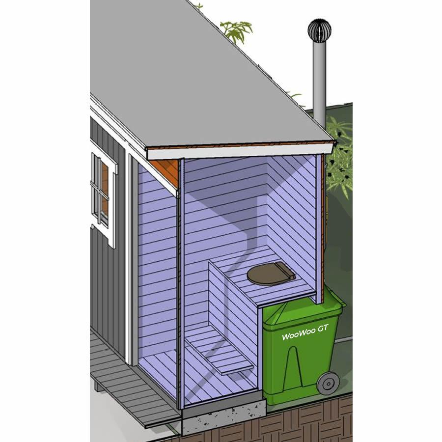 WooWoo GT composting toilet in cabin diagram